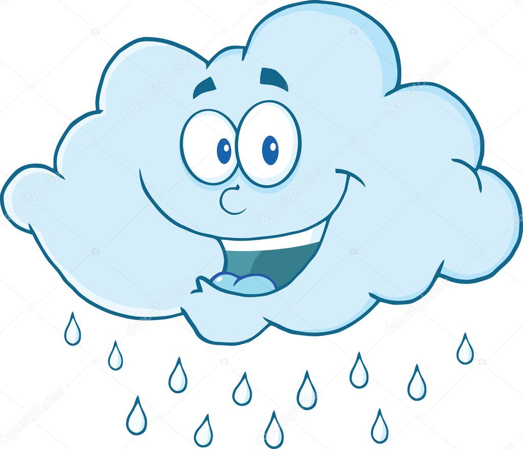 Cloud Raining Cartoon Mascot Character