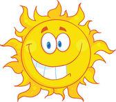 Lächeln Sonne Cartoon Maskottchen Charakter