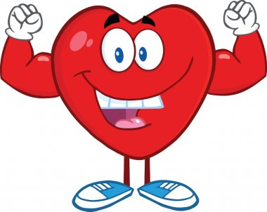 Happy Heart Cartoon Character Showing Muscle Arms