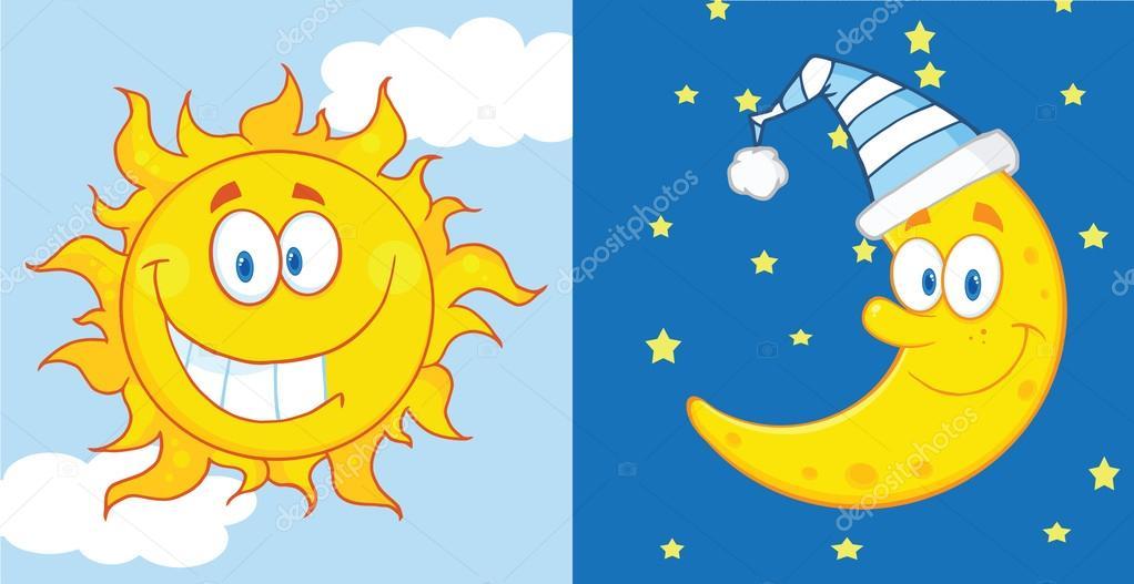 Sol y luna mascota personajes de dibujos animados — foto