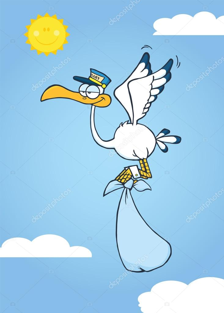Cute Cartoon Stork Delivery A Baby Boy In The Sky