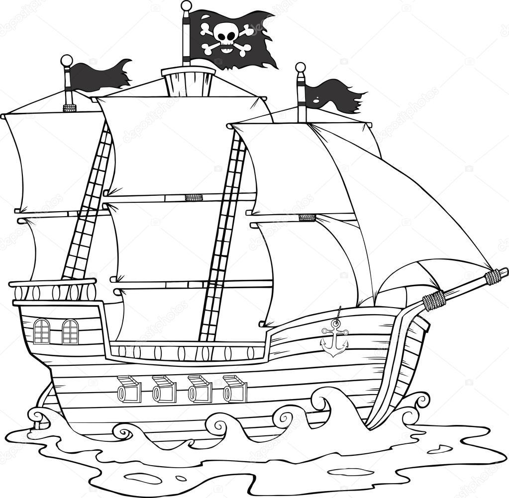Bateau De Pirate Noir Et Blanc Naviguant Sous Pavillon De Jolly