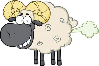 Smiling Black Head Ram Sheep Cartoon Mascot Character With Fart Cloud