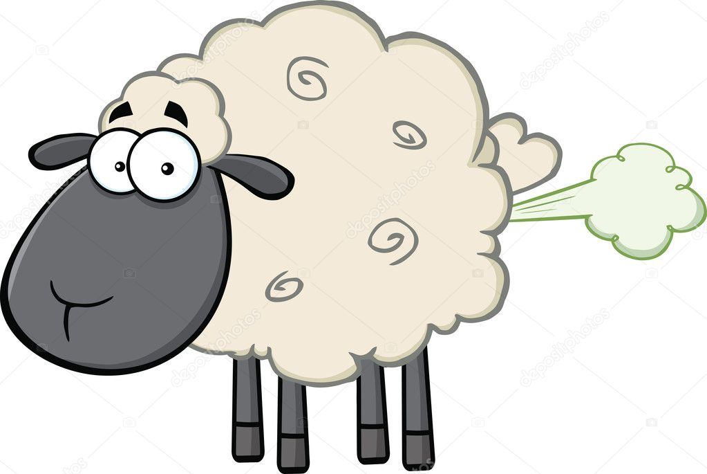 Cute Black Head Sheep Cartoon Mascot Character With Fart Cloud