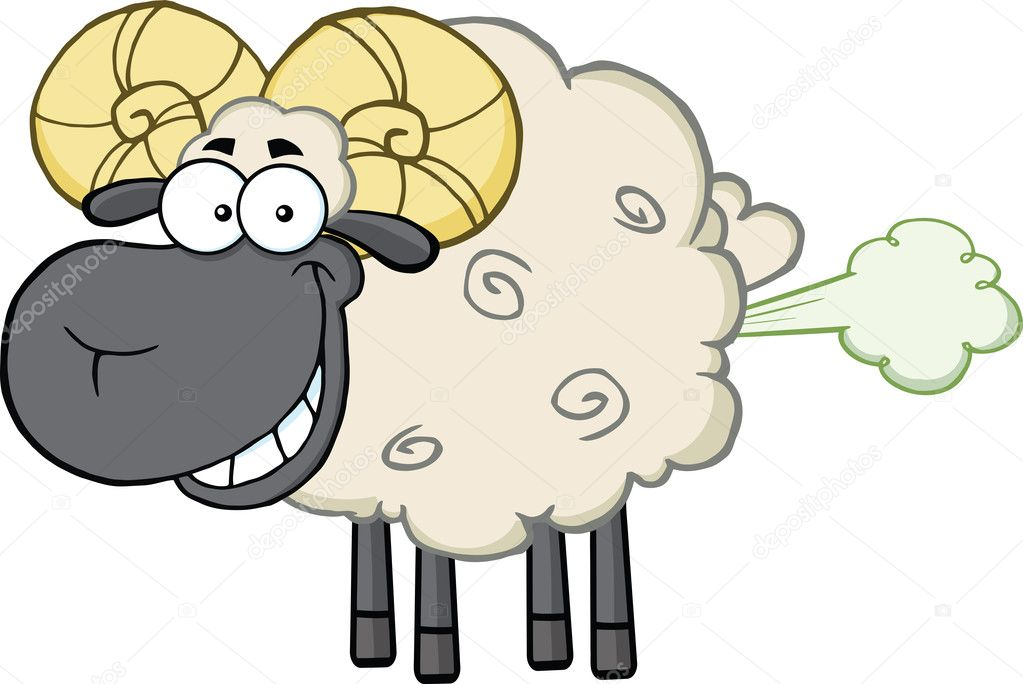 Smiling Black Head Ram Sheep Cartoon Mascot Character With Fart Cloud