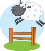 Funny černá hlava ovce skákat přes plot