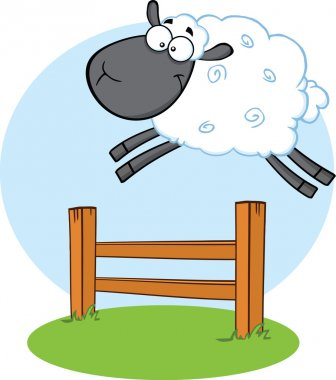 Funny Black Head Sheep Jumping Over The Fence