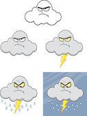 insieme di raccolta personaggi cartoon nube arrabbiato