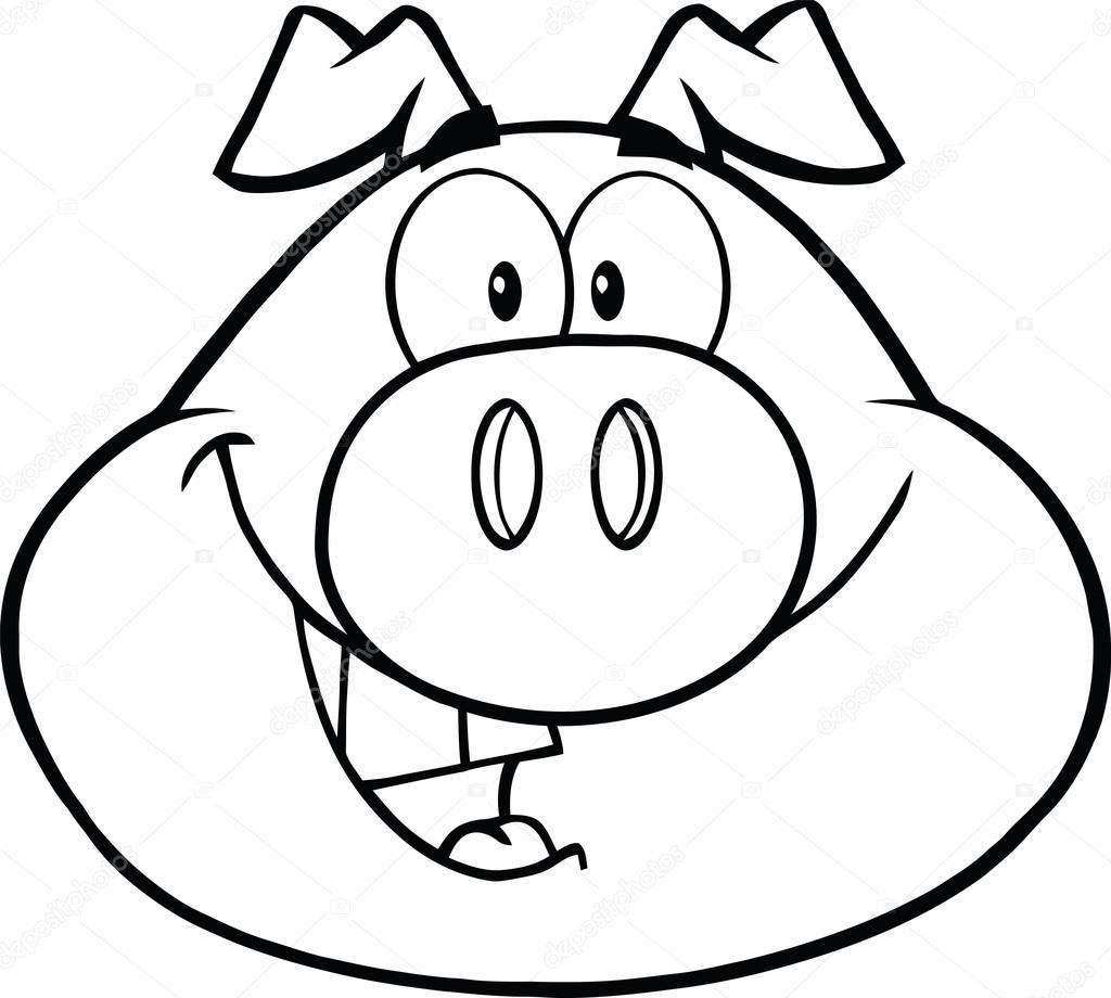 Coloriage Tete De Cochon.Tete De Cochon Heureux Noir Et Blanc Dessin Anime Personnage