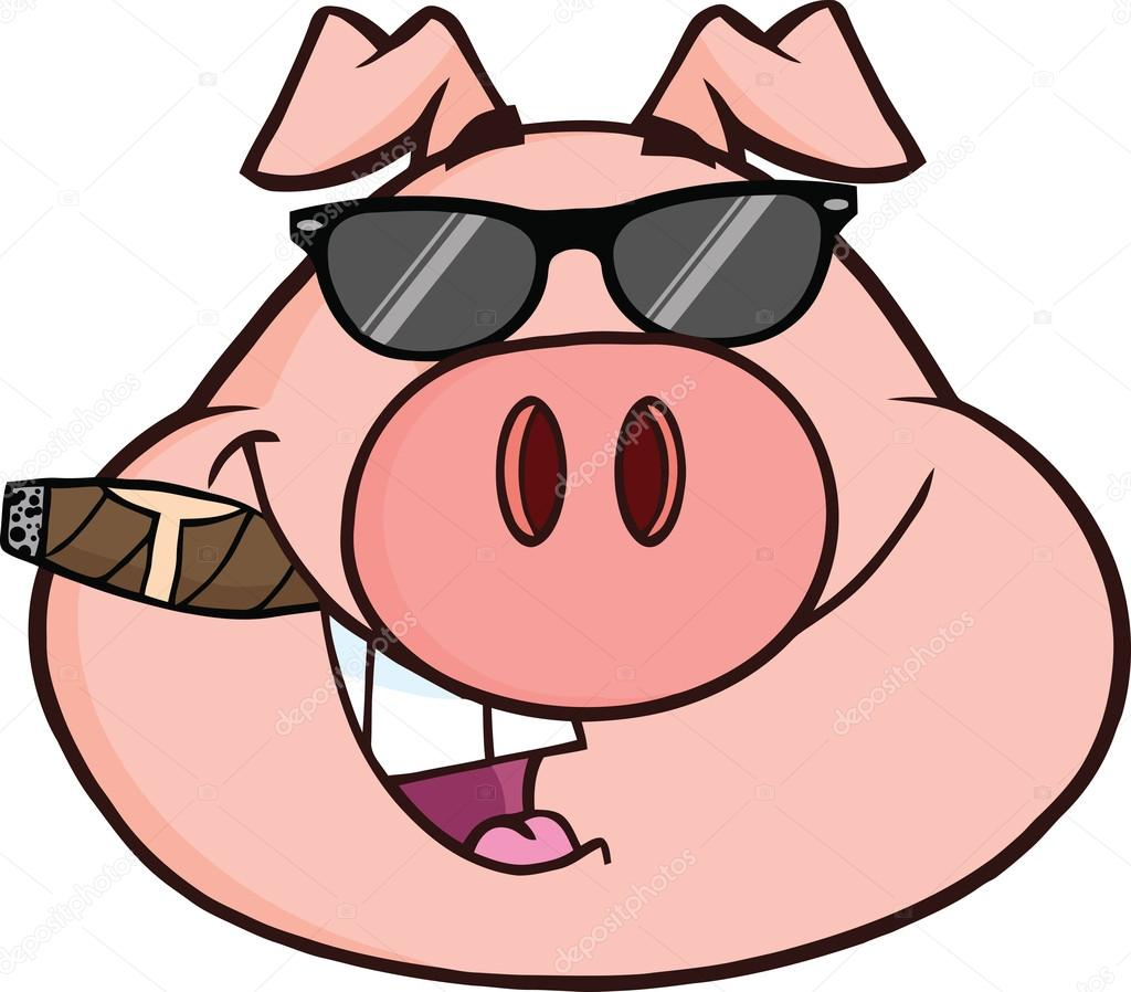 Businessman Pig Head With Sunglasses And Cigar Stock