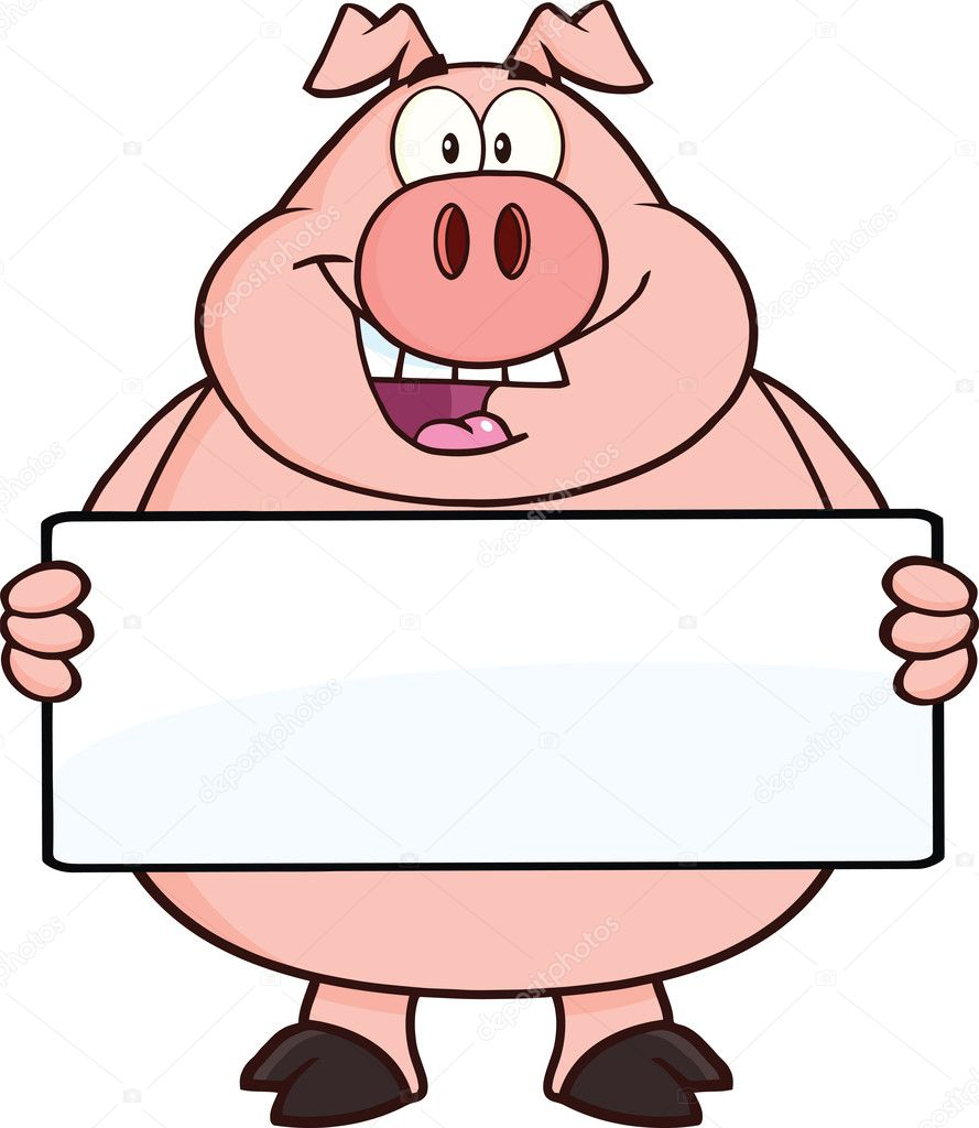 Happy pig cartoon character holding a banner — stock photo