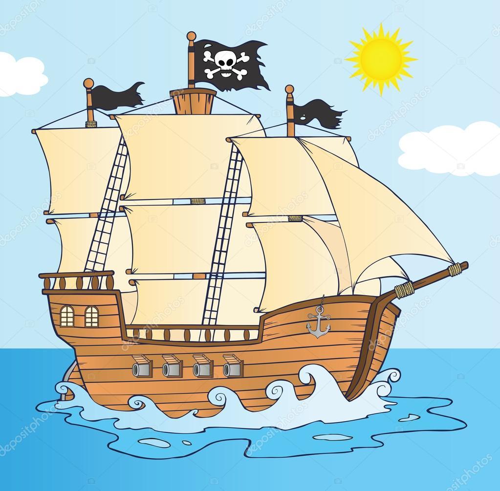 Bateau Pirate Naviguant Sous Pavillon De Jolly Roger Photographie