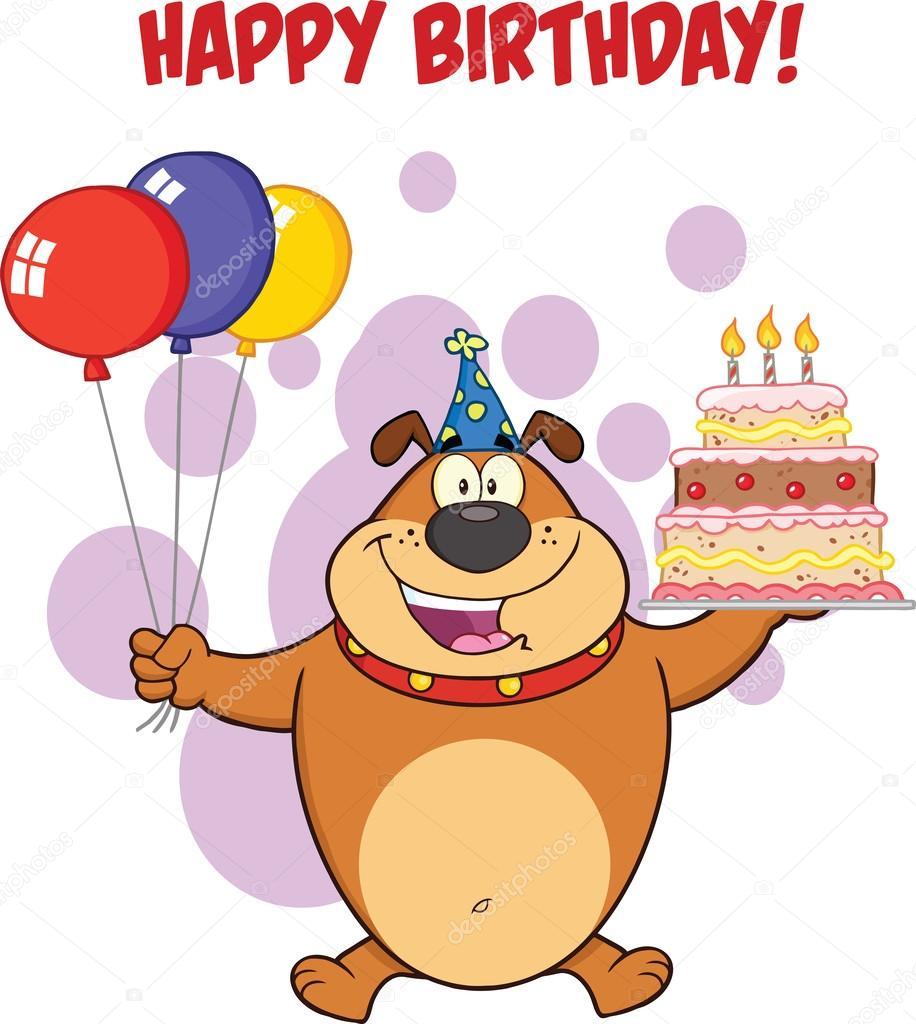 grattishälsning Grattis hälsning med brun bulldog håller upp en tårta med ljus  grattishälsning