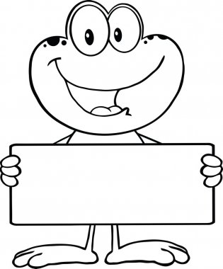 Black And White Cute Frog Cartoon Mascot Character Holding A Banner