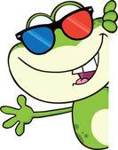 rana carino con carattere di occhiali 3d guardando un cartello bianco e sventolando