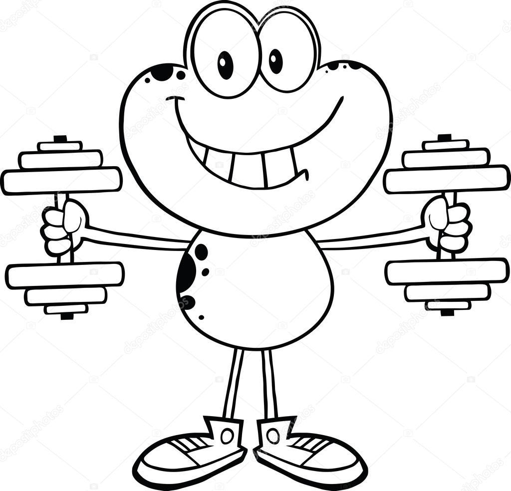 noir et blanc souriant grenouille dessin anim u00e9 personnage formation avec des halt u00e8res