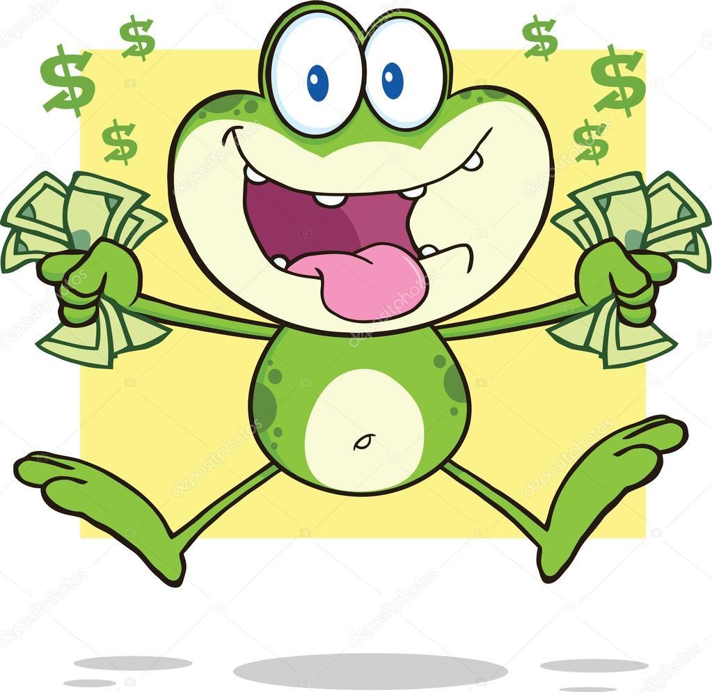 personaje de dibujos animados loca rana saltando con dinero en ...