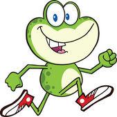 roztomilé zelené žáby kreslená postava s tenisky