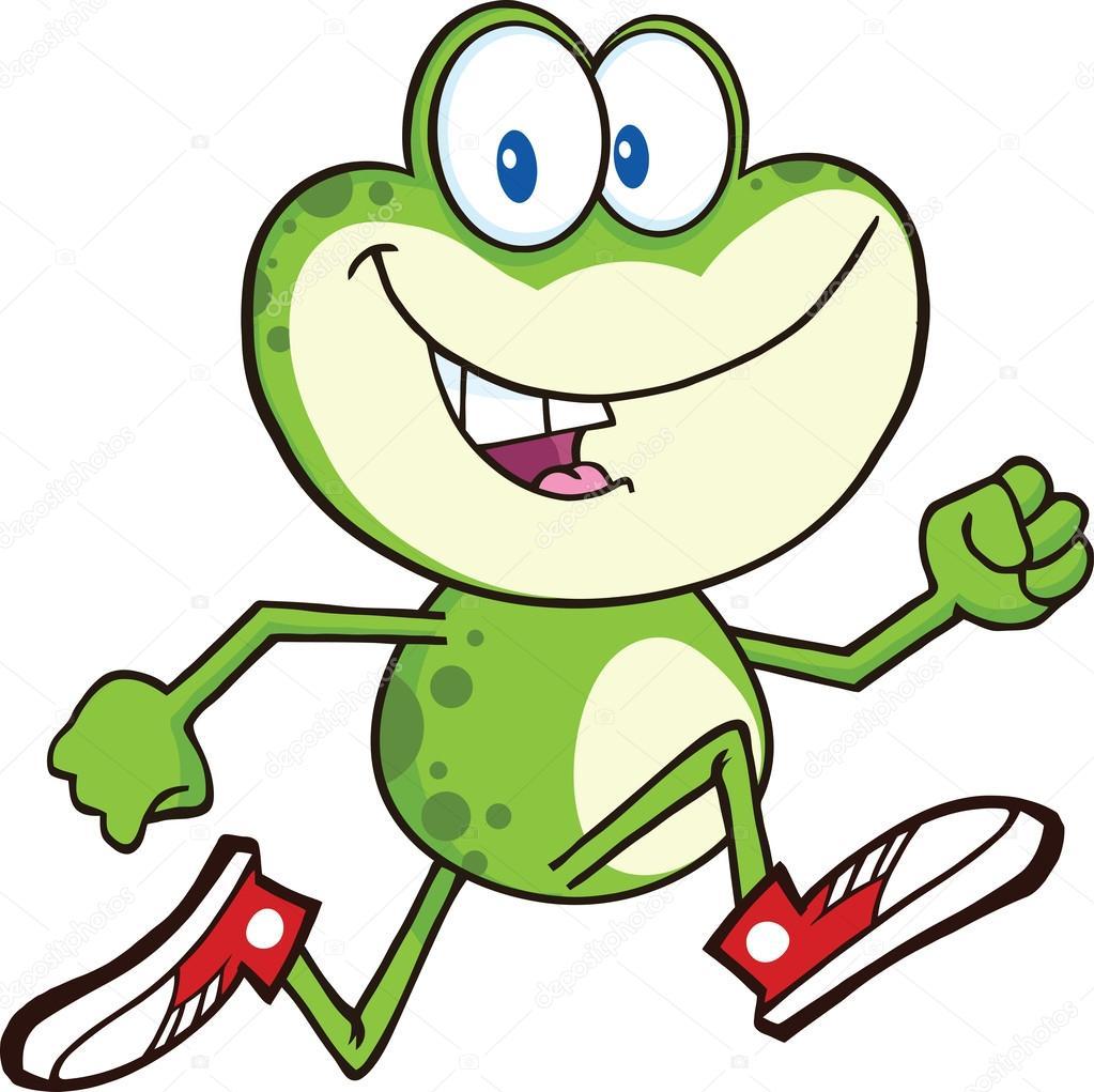 Personnage de dessin anim mignon grenouille verte en cours d 39 ex cution avec des baskets - Dessin de grenouille verte ...