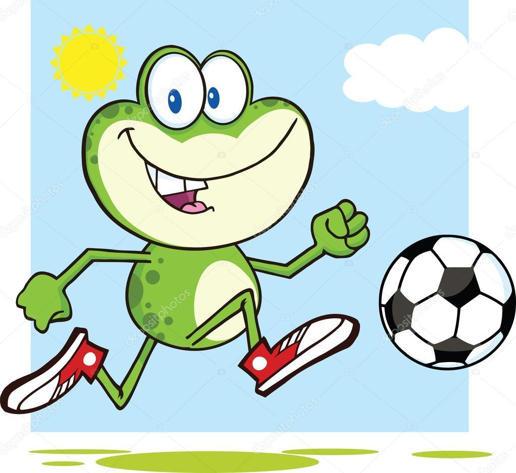 Roztomilé zelené žáby kreslený maskot charakter hrál sfotbalovým míčem — Stock fotografie