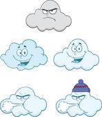 šťastný a rozzlobený mraky karikatura znaky sady kolekce