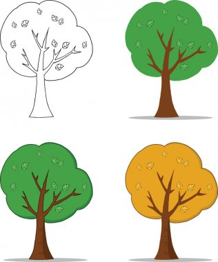 Cartoon Character Tree With Shadow  Set Collection stock vector
