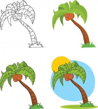 Palm Tree Cartoon Illustrations  Set Collection