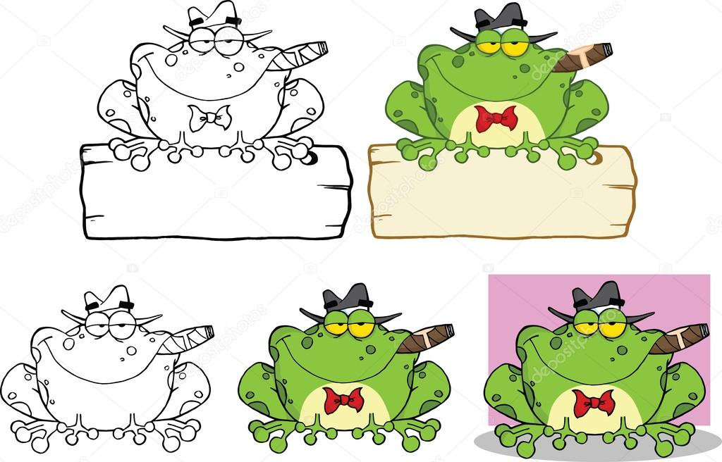 Mobster Frog Over A Sign Cartoon Character Set Collection Stock