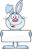 Photo Funny Blue Rabbit haracter Holding A Banner