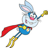 Blue Rabbit Superhero Character Flying