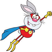 Gray Rabbit Superhero Cartoon Character Flying