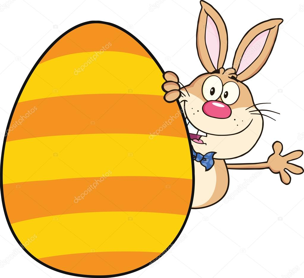 cute rabbit cartoon character waving behind easter egg u2014 stock