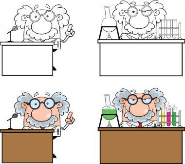 Funny Scientist Or Professor Different Poses 1  Collection Set