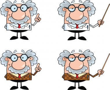 Funny Scientist Or Professor Different Poses 3  Collection Set