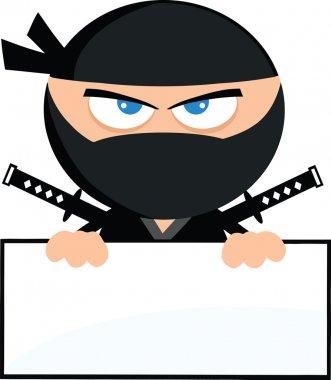 Angry Ninja Warrior Cartoon Character Over Blank Sign Flat Design