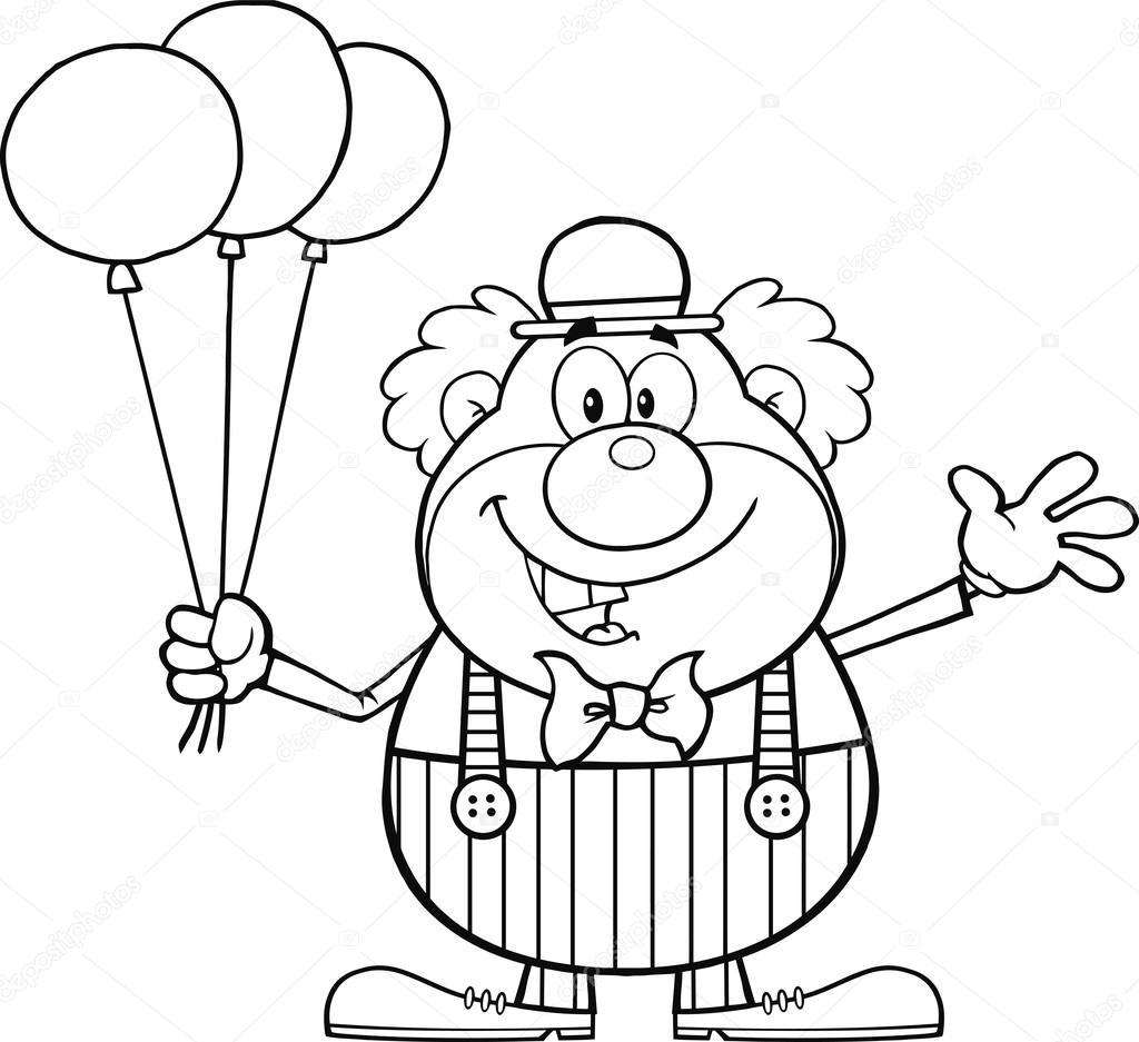 Siyah Beyaz Komik Palyaço çizgi Film Karakteri Ile Balonları Ve