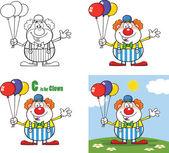 legrační klaun kreslené postavy 3. sada kolekce