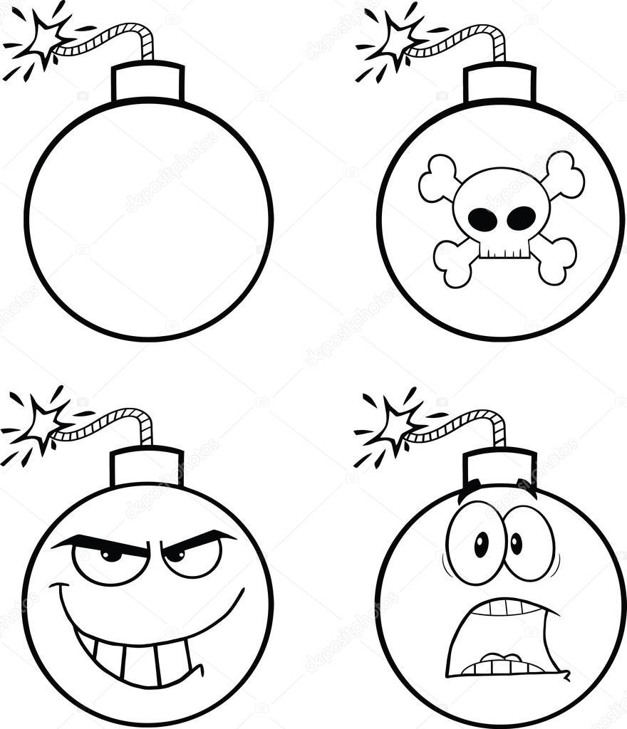 Personaggi dei cartoni animati di bomba in bianco e nero