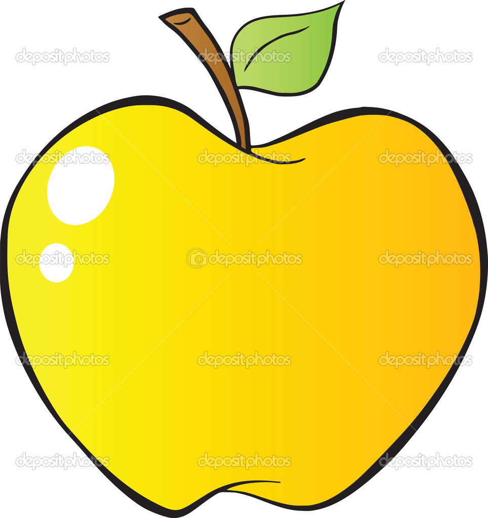 cartoon yellow apple in gradient stock photo  u00a9 hittoon free clipart of apple outline free clipart of apple hill
