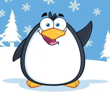 Cute Penguin Cartoon Character Waving