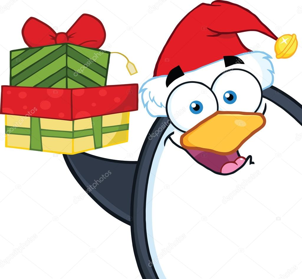 Smiling Penguin Cartoon Character Holding Up A Stack Of Gifts