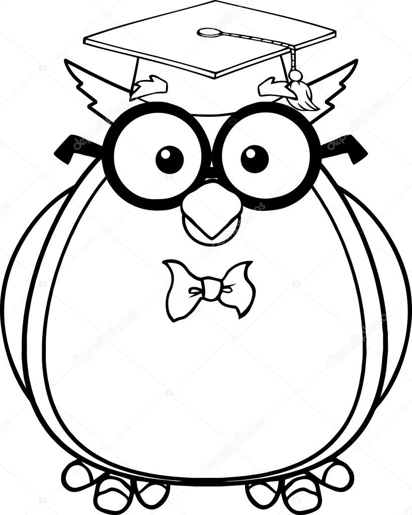 black and white wise owl teacher cartoon character with glasses and rh depositphotos com