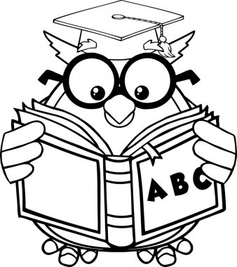 Black And White Wise Owl Teacher Cartoon Mascot Character Reading A ABC Book