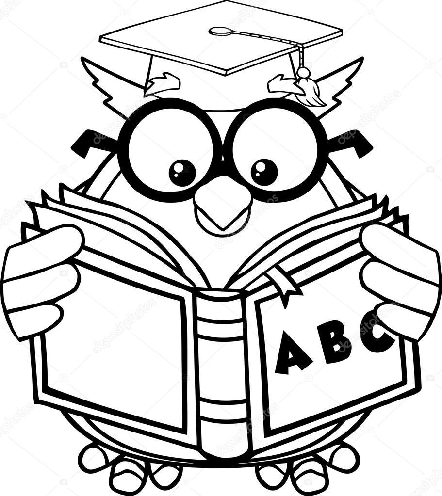 Černé a bílé moudrá sova učitel kreslený maskot znak čtení ...