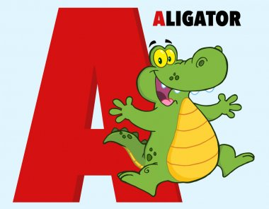 Funny Cartoon Character Alphabet-A With Alligator And Text stock vector