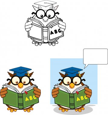 Wise Owl Teacher Cartoon Character 5  Collection Set