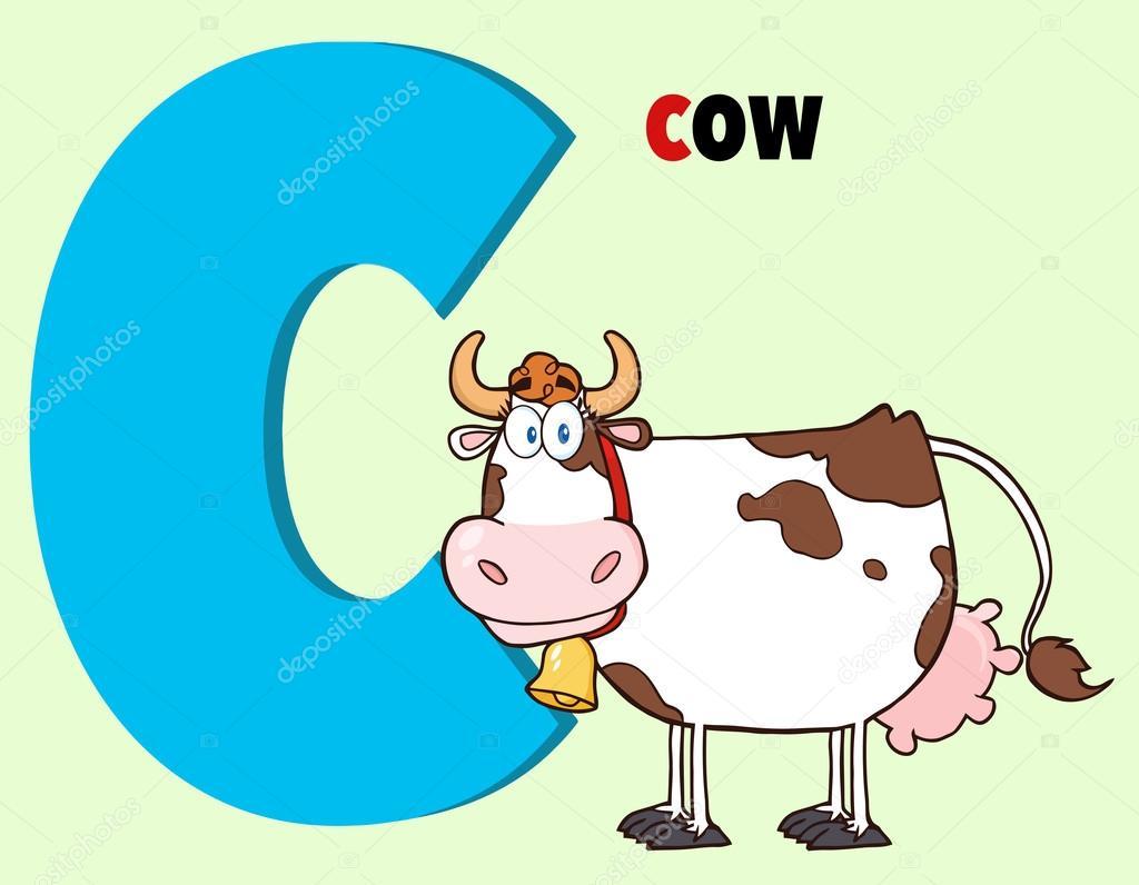 Divertidos dibujos animados alfabeto c con vaca y texto
