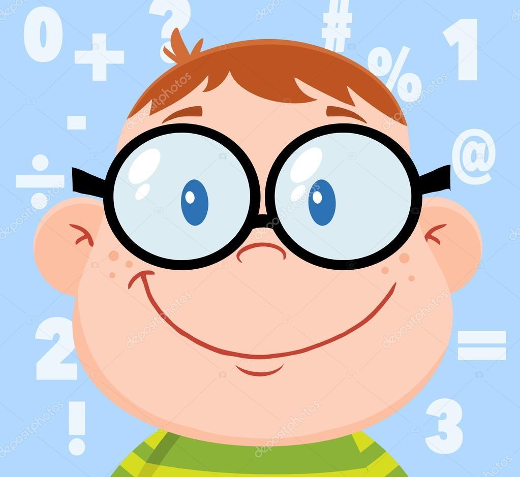 Cabeza De Niño Friki Sonriente Y Números