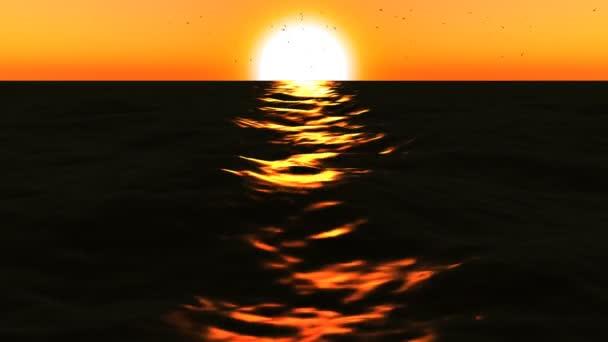 loopable 3d moře s velkým západ slunce
