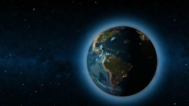 Cyberspace Erde mit Licht Mitte der Sterne